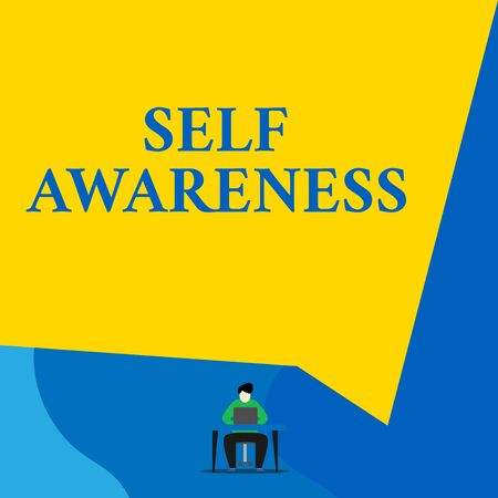 Writing note showing Self Awareness. Business concept for Consciousness of a demonstrating towards a situation or happenings Young man sitting chair desk working open laptop geometric background Imagens