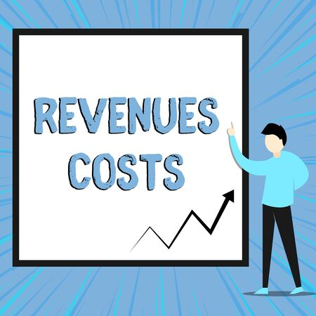 Word writing text Revenues Costs. Business photo showcasing Total amount of money in Manufacturing and Delivery a product View young man standing pointing up blank rectangle Geometric background