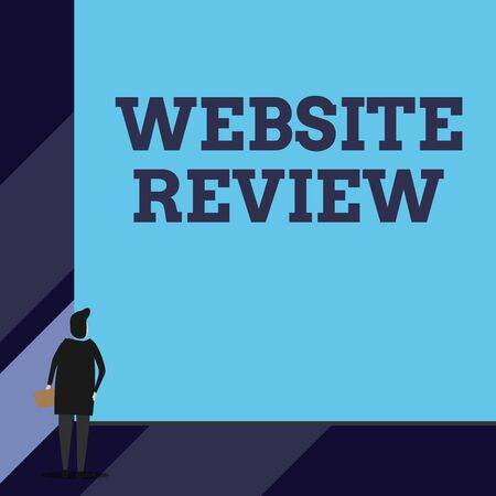 Handwriting text Website Review. Conceptual photo Reviews that can be posted about businesses and services Back view young woman watching blank big rectangle. Geometrical background