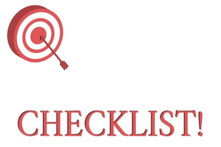 Word writing text Checklist. Business photo showcasing list items required things be done or points considered Dart Board in Circle Concentric Style with Arrow Hitting Center Bulls Eye Archivio Fotografico