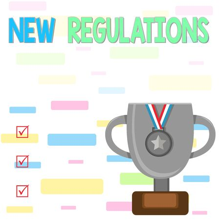 Writing note showing New Regulations question. Business concept for rules made government order to control way something is done Trophy Cup on Pedestal with Plaque Medal with Striped Ribbon 스톡 콘텐츠