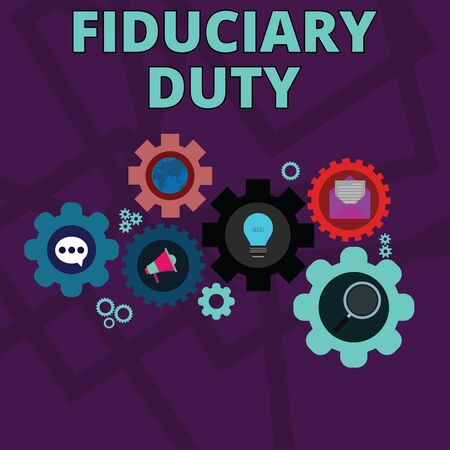 Word writing text Fiduciary Duty. Business photo showcasing A legal obligation to act in the best interest of other Set of Global Online Social Networking Icons Inside Colorful Cog Wheel Gear