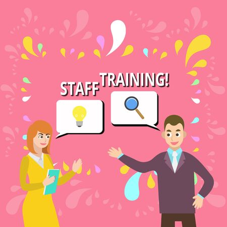 Writing note showing Staff Training. Business concept for learn specific knowledge improve perforanalysisce in current roles Business Partners Colleague Jointly Seeking Problem Solution