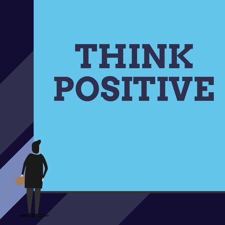 Handwriting text Think Positive. Conceptual photo The tendency to be positive or optimistic in attitude Back view young woman watching blank big rectangle. Geometrical background 写真素材