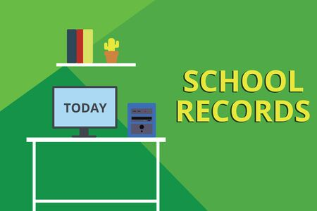 Word writing text School Records. Business photo showcasing Information that is kept about a child at school Biography Desktop computer wooden table background shelf books flower pot ornaments
