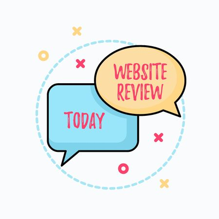 Conceptual hand writing showing Website Review. Concept meaning Reviews that can be posted about businesses and services Pair of Overlapping Bubbles of Oval and Rectangular Shape