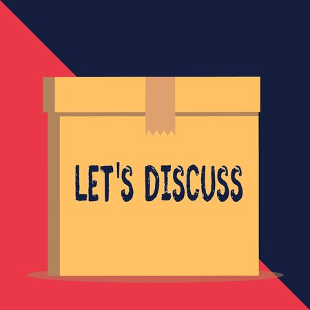 Writing note showing Let S Discuss. Business concept for asking someone to talk about something with demonstrating or showing Close up front view brown cardboard sealed box lid. Blank background Imagens