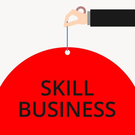 Word writing text Skill Business. Business photo showcasing Ability to handle business venture Intellectual expertise Male hand arm needle punching big half blank balloon geometrical background