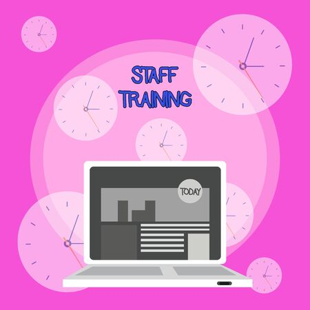Writing note showing Staff Training. Business concept for A program that helps employees to learn specific knowledge Laptop Switched On with Website Homepage Screen Web Search