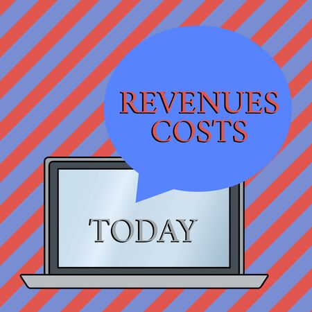 Conceptual hand writing showing Revenues Costs. Concept meaning Total amount of money in Manufacturing and Delivery a product Round Shape Speech Bubble Floating Over Laptop Backdrop Reklamní fotografie