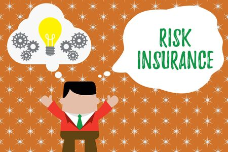 Writing note showing Risk Insurance. Business concept for The possibility of Loss Damage against the liability coverage Man hands up imaginary bubble light bulb working together