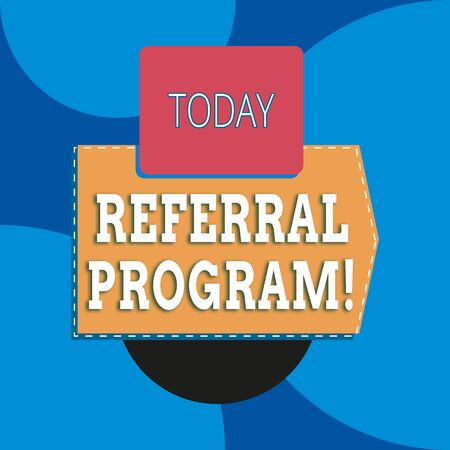 Writing note showing Referral Program. Business concept for internal recruitment method employed by organizations Blank rectangle above another zigzag upwards increasing sale