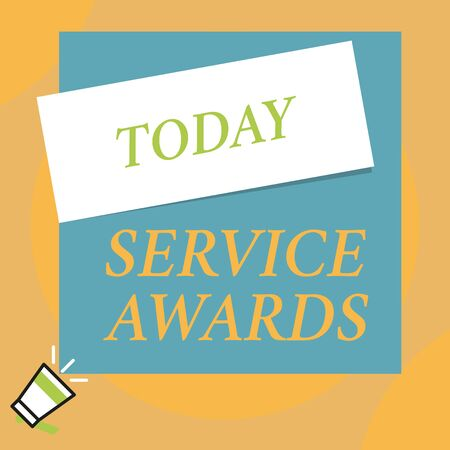 Writing note showing Service Awards. Business concept for Recognizing an employee for his or her longevity or tenure Big blank square rectangle stick above small megaphone left down corner Stock Photo