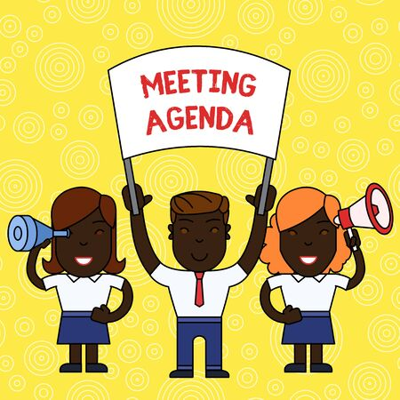 Word writing text Meeting Agenda. Business photo showcasing An agenda sets clear expectations for what needs to a meeting People with Blank Banner, Megaphone and Spy Glass Peaceful Demonstration Imagens