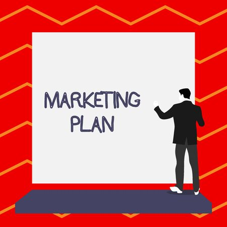 Word writing text Marketing Plan. Business photo showcasing Comprehensive document of business activities and advertising Short hair immature young man stand in front of rectangle big blank board