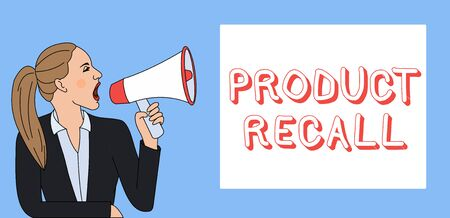 Writing note showing Product Recall. Business concept for Request by a company to return the product due to some issue Woman Jacket Ponytail Shouting into Loudhailer Rectangular Box Stock Photo