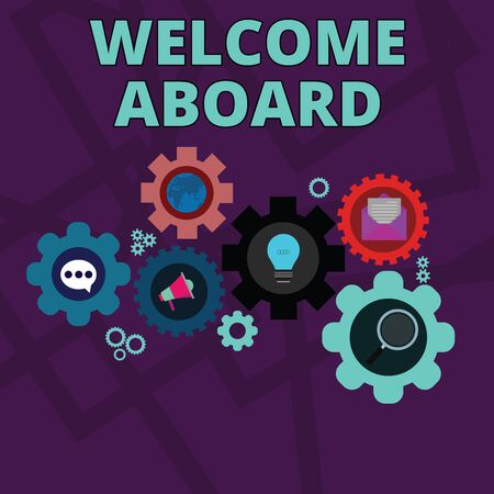 Word writing text Welcome Aboard. Business photo showcasing Expression of greetings to a demonstrating whose arrived is desired Set of Global Online Social Networking Icons Inside Colorful Cog Wheel Gear Banco de Imagens - 128470486