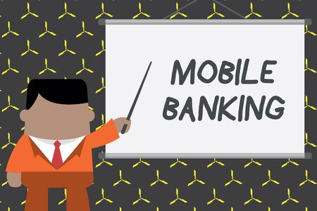 Text sign showing Mobile Banking. Business photo showcasing Monitoring account balances Transferring funds Bill payment Businessman standing in front projector screen pointing project idea