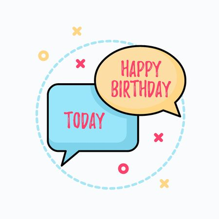 Conceptual hand writing showing Happy Birthday. Concept meaning The birth anniversary of a demonstrating is celebrated with presents Pair of Overlapping Bubbles of Oval and Rectangular Shape Imagens - 128462244