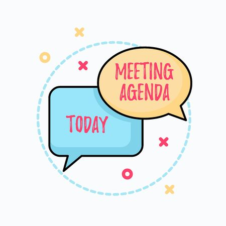 Conceptual hand writing showing Meeting Agenda. Concept meaning An agenda sets clear expectations for what needs to a meeting Pair of Overlapping Bubbles of Oval and Rectangular Shape