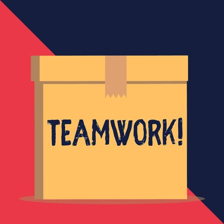 Writing note showing Teamwork. Business concept for combined action of group especially when effective and efficient Close up front view brown cardboard sealed box lid. Blank background Banco de Imagens - 128470284