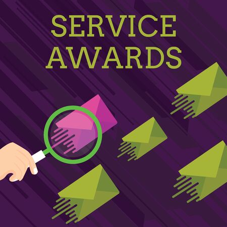 Text sign showing Service Awards. Business photo showcasing Recognizing an employee for his or her longevity or tenure Magnifying Glass on One Different Color Envelope and others has Same Shade
