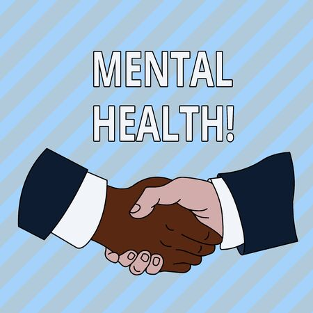 Handwriting text Mental Health. Conceptual photo demonstratings condition regard to their psychological well being Hand Shake Multiracial Male Business Partners Colleagues Formal Shirt Suit