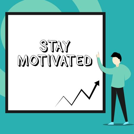 Conceptual hand writing showing Stay Motivated. Concept meaning Reward yourself every time you reach a goal with knowledge Man standing pointing up blank rectangle Geometric background Banque d'images - 128470048