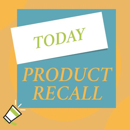 Writing note showing Product Recall. Business concept for Request by a company to return the product due to some issue Big blank square rectangle stick above small megaphone left down corner Stock Photo