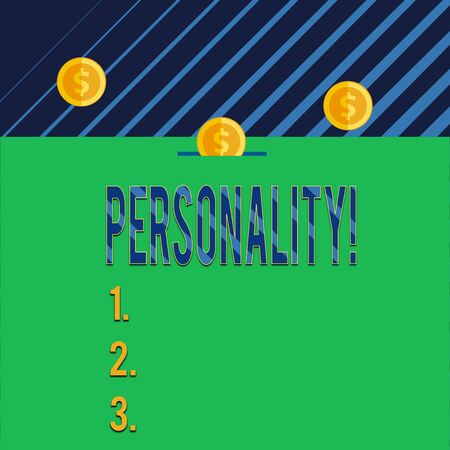 Text sign showing Personality. Business photo text combination characteristics that form individuals character Three gold spherical coins value thousand dollars one bounce to piggy bank Imagens