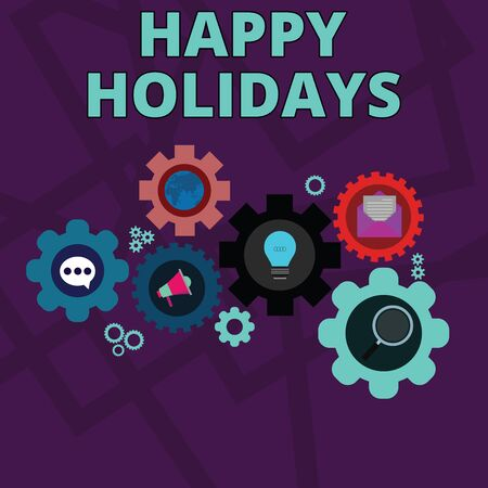 Word writing text Happy Holidays. Business photo showcasing Made a short journey by a group of showing for pleasure Set of Global Online Social Networking Icons Inside Colorful Cog Wheel Gear Фото со стока - 128463445