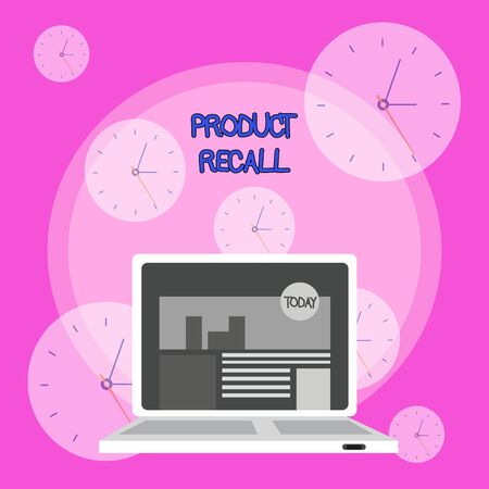 Writing note showing Product Recall. Business concept for Request by a company to return the product due to some issue Laptop Switched On with Website Homepage Screen Web Search