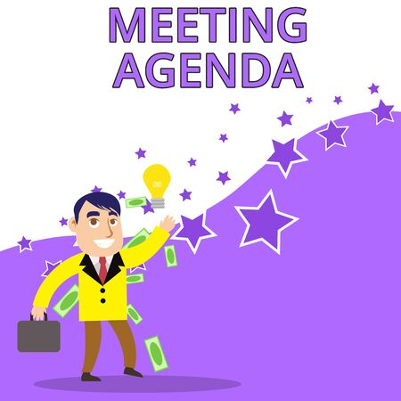 Text sign showing Meeting Agenda. Business photo text An agenda sets clear expectations for what needs to a meeting Successful Businessman or Clerk Generating Good Idea or Finding Solution Imagens