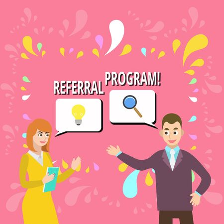 Writing note showing Referral Program. Business concept for internal recruitment method employed by organizations Business Partners Colleague Jointly Seeking Problem Solution