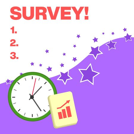Text sign showing Survey. Business photo text research method used for collecting data from a predefined group Layout Wall Clock Notepad with Escalating Bar Graph and Arrow Pointing Up