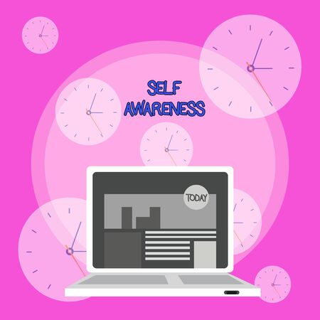 Writing note showing Self Awareness. Business concept for Consciousness of a demonstrating towards a situation or happenings Laptop Switched On with Website Homepage Screen Web Search