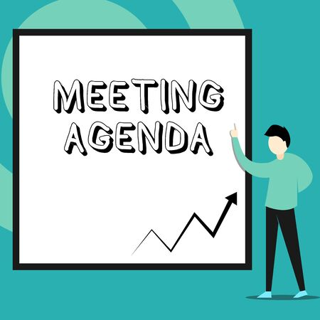 Conceptual hand writing showing Meeting Agenda. Concept meaning An agenda sets clear expectations for what needs to a meeting Man standing pointing up blank rectangle Geometric background Imagens