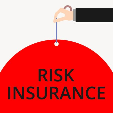 Word writing text Risk Insurance. Business photo showcasing The possibility of Loss Damage against the liability coverage Male hand arm needle punching big half blank balloon geometrical background