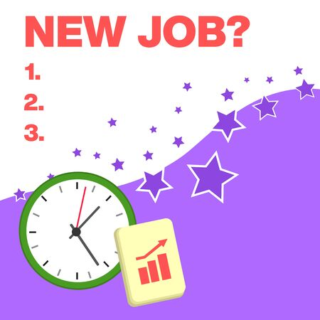 Text sign showing New Job Question. Business photo text formal meeting which someone asked find out if they are suitable Layout Wall Clock Notepad with Escalating Bar Graph and Arrow Pointing Up 写真素材 - 128462453