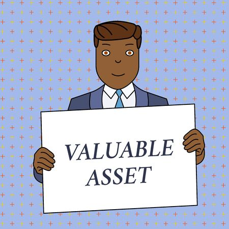 Word writing text Valuable Asset. Business photo showcasing Your most valuable asset is your ability or capacity Smiling Man Holding Formal Suit Big Blank Poster Board in Front of Himself