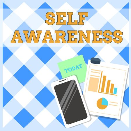 Conceptual hand writing showing Self Awareness. Concept meaning Consciousness of a demonstrating towards a situation or happenings Layout Smartphone Sticky Notes with Pie Chart and Bar Graph