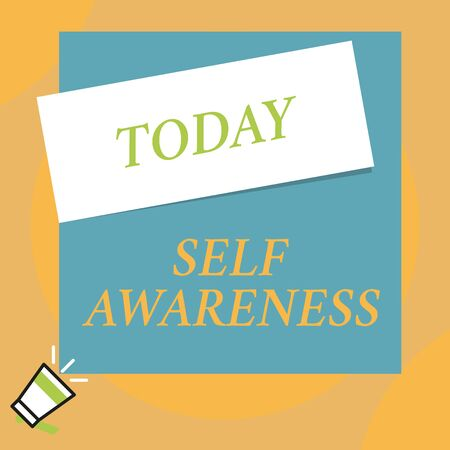 Writing note showing Self Awareness. Business concept for Consciousness of a demonstrating towards a situation or happenings Big blank square rectangle stick above small megaphone left down corner