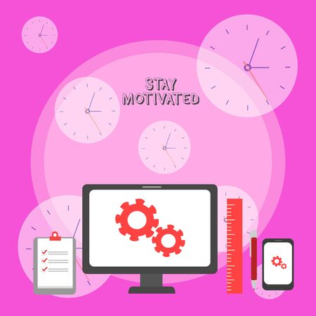 Writing note showing Stay Motivated. Business concept for Reward yourself every time you reach a goal with knowledge Business Concept PC Monitor Mobile Device Clipboard Ruler Ballpoint Pen Banque d'images - 128350647
