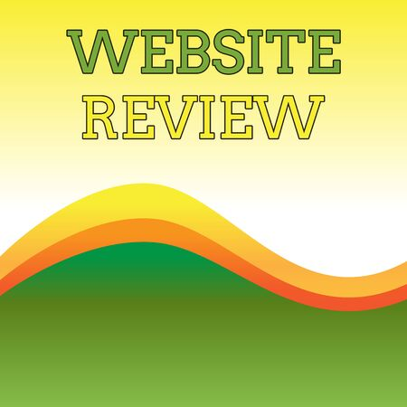 Text sign showing Website Review. Business photo showcasing Reviews that can be posted about businesses and services Wavy Abstract Design Three Tone Background with Two Curvy Lines in Center