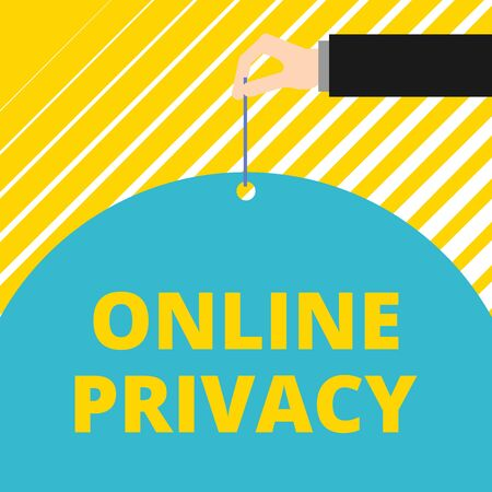 Text sign showing Online Privacy. Business photo showcasing Security level of demonstratingal data published via the Internet Man hand hold big half round paper tie string with thumb and index finger