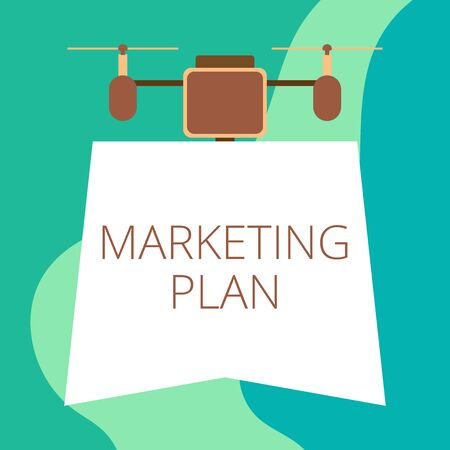 Conceptual hand writing showing Marketing Plan. Concept meaning Comprehensive document of business activities and advertising Drone holding downwards banner Geometrical design