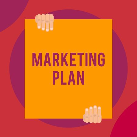 Word writing text Marketing Plan. Business photo showcasing Comprehensive document of business activities and advertising Two hands holding big blank rectangle up down Geometrical background design Stock fotó