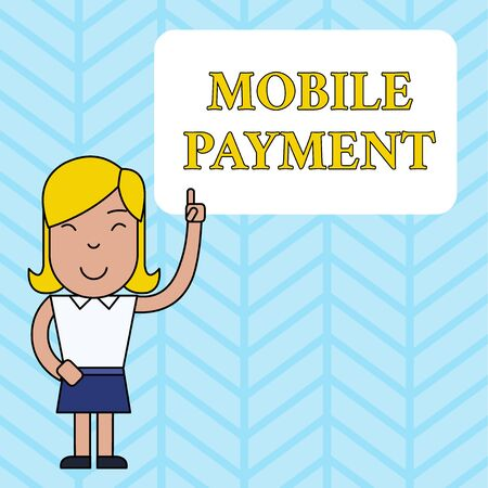 Conceptual hand writing showing Mobile Payment. Concept meaning Cashless Payment made through portable electronic devices Woman Standing with Raised Left Index Finger Pointing at Box