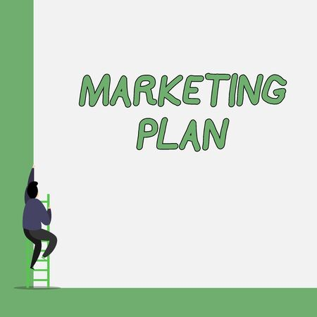 Writing note showing Marketing Plan. Business concept for Comprehensive document of business activities and advertising One Male climb up the tall high wall use short ladder stairway