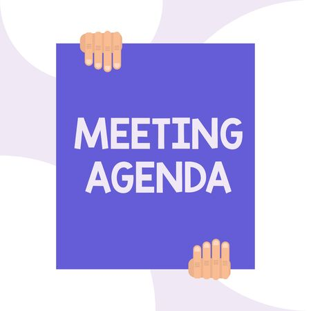 Handwriting text writing Meeting Agenda. Conceptual photo An agenda sets clear expectations for what needs to a meeting Two hands holding big blank rectangle up down Geometrical background design
